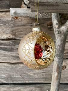 Bilde av Vintage julekule gylden m.glitterdekor & krater