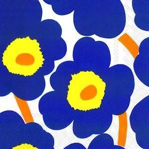 Bilde av Marimekko servietter Unikko blå/gul (flere