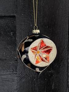 Bilde av Vintage julekule sort m.glitterdekor & krater